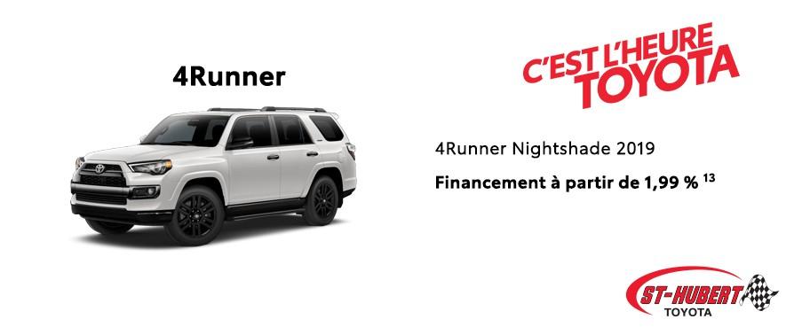 St-Hubert Toyota Heure Toyota 4Runner Nightshade 2019 Novembre 2019