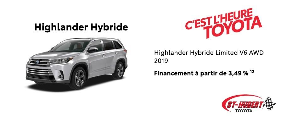 St-Hubert Toyota Heure Toyota Highlander Hybride Limited V6 AWD 2019 Novembre 2019