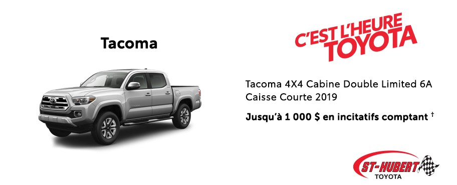 St-Hubert Toyota Heure Toyota Tacoma 4x4 Cabine Double Limited Caisse Courte 2019 Novembre 2019