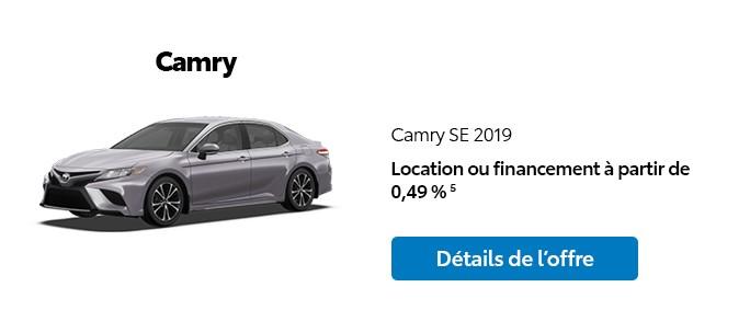 St-Hubert Toyota Promotion Novembre 2019 Camry SE 2019