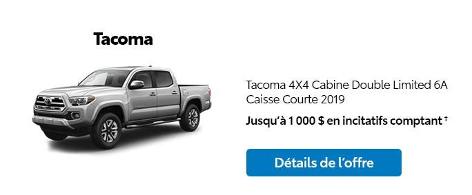 St-Hubert Toyota Promotion Novembre 2019 Tacoma 4x4 DoubleCab Limited SB 2019