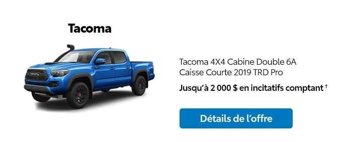 St-Hubert Toyota Promotion Novembre 2019 Tacoma 4x4 DoubleCab SB 2019 TRD Pro