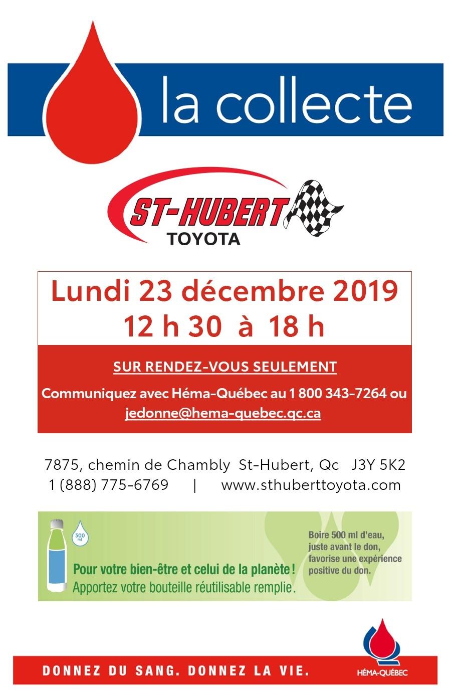St-Hubert Toyota Collecte De Sang Décembre 2019