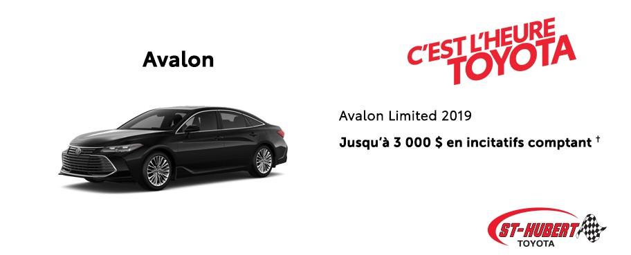 St-Hubert Toyota Heure Toyota Avalon Limited 2019 Janvier 2020