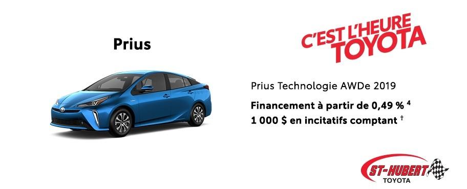 St-Hubert Toyota Heure Toyota Prius Technologie AWDe 2019 Janvier 2020