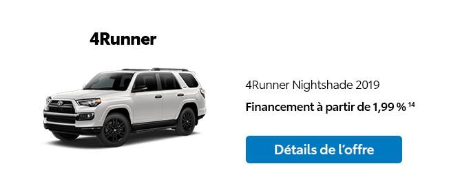St-Hubert Toyota Promotion Janvier 2020 4Runner Nightshade 2019