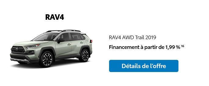 St-Hubert Toyota Promotion Janvier 2020 RAV4 AWD Trail 2019