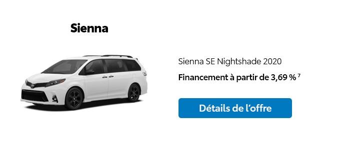 St-Hubert Toyota Promotion Janvier 2020 Sienna SE Nightshade 2020