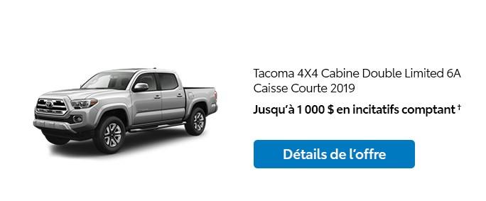 St-Hubert Toyota Promotion Janvier 2020 Tacoma 4x4 DoubleCab Limited SB 2019