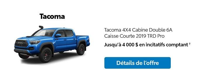 St-Hubert Toyota Promotion Janvier 2020 Tacoma 4x4 DoubleCab SB 2019 TRD Pro