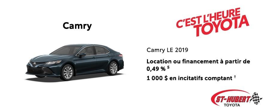 St-Hubert Toyota Heure Toyota Camry LE 2019 Mars 2020