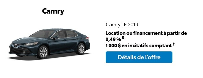 St-Hubert Toyota Promotion Mars 2020 Camry LE 2019