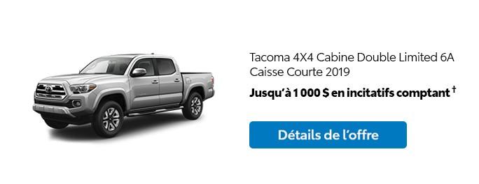 St-Hubert Toyota Promotion Mars 2020 Tacoma 4x4 DoubleCab Limited SB 2019