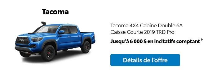 St-Hubert Toyota Promotion Mars 2020 Tacoma 4x4 DoubleCab SB 2019 TRD Pro