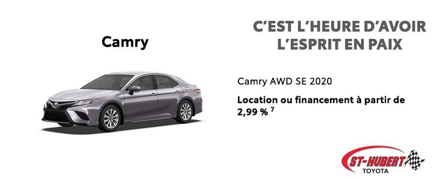 St-Hubert Toyota C'est l'heure d'avoir l'esprit en paix Camry AWD SE 2020 Mai 2020