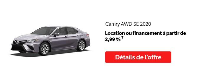 St-Hubert Toyota Promotion Mai 2020 Camry AWD SE 2020