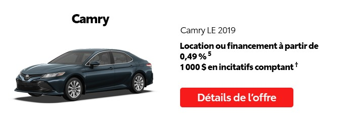 St-Hubert Toyota Promotion Mai 2020 Camry LE 2019