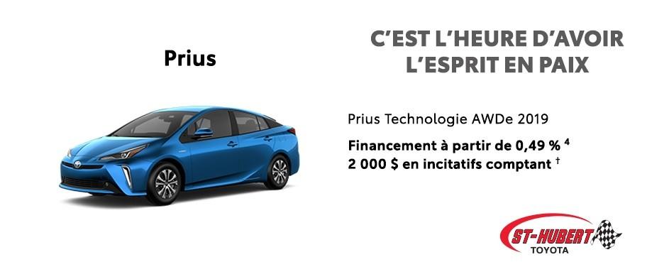 St-Hubert Toyota C'est l'heure d'avoir l'esprit en paix Prius Technologie AWDe 2019 Juin 2020