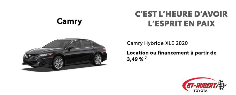 St-Hubert Toyota C'est l'heure d'avoir l'esprit en paix Camry Hybride XLE 2020 Juillet 2020