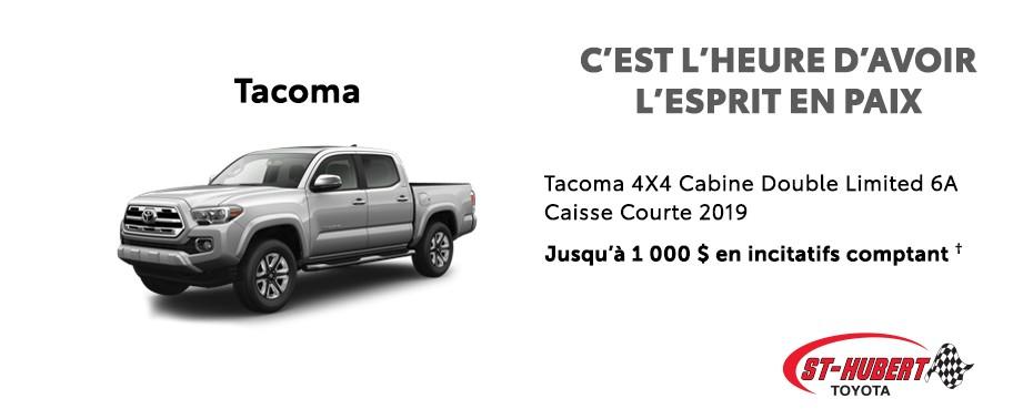 St-Hubert Toyota C'est l'heure d'avoir l'esprit en paix Tacoma 4x4 Cabine Double Limited Caisse Courte 2019 Juillet 2020