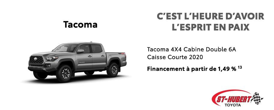St-Hubert Toyota C'est l'heure d'avoir l'esprit en paix Tacoma 4x4 Cabine Double Caisse Courte 2020 Juillet 2020