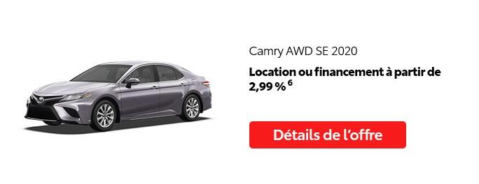 St-Hubert Toyota Promotion Juillet 2020 Camry AWD SE 2020