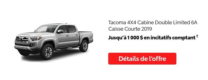 St-Hubert Toyota Promotion Juillet 2020 Tacoma 4x4 DoubleCab Limited SB 2019