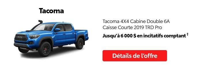 St-Hubert Toyota Promotion Juillet 2020 Tacoma 4x4 DoubleCab SB 2019 TRD Pro