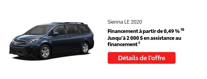 St-Hubert Toyota Vente Étiquettes Rouges Août 2020 Sienna LE 2020