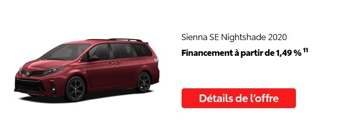 St-Hubert Toyota Vente Étiquettes Rouges Août 2020 Sienna SE Nightshade 2020
