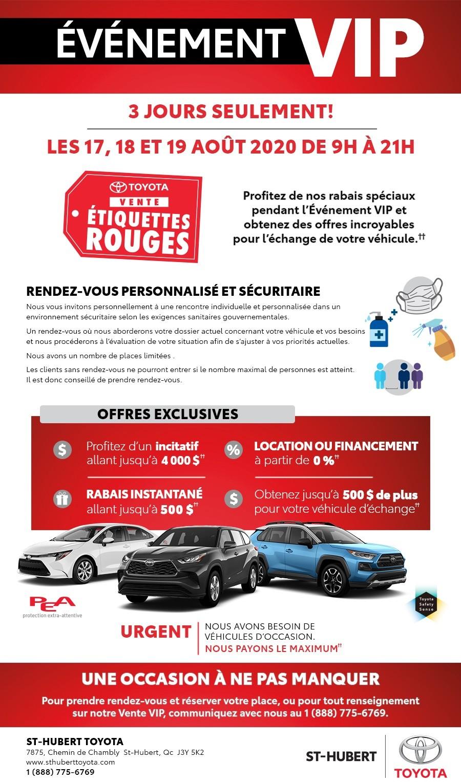 St-Hubert Toyota Événement VIP Août 2020
