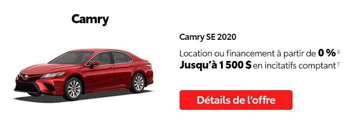 St-Hubert Toyota Vente Étiquettes Rouges Octobre 2020 Camry SE 2020