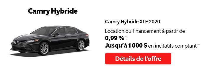 St-Hubert Toyota C'est l'heure Toyota Janvier 2021 Camry Hybride XLE 2020