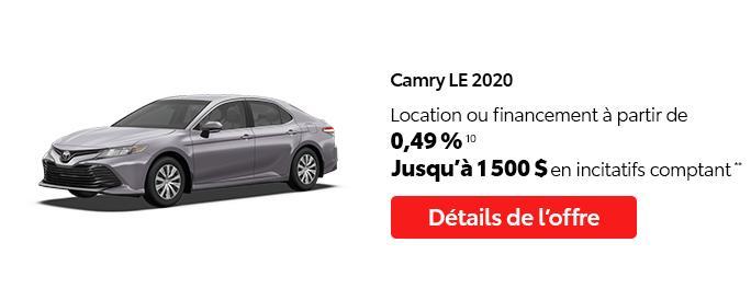 St-Hubert Toyota C'est l'heure Toyota Janvier 2021 Camry LE 2020