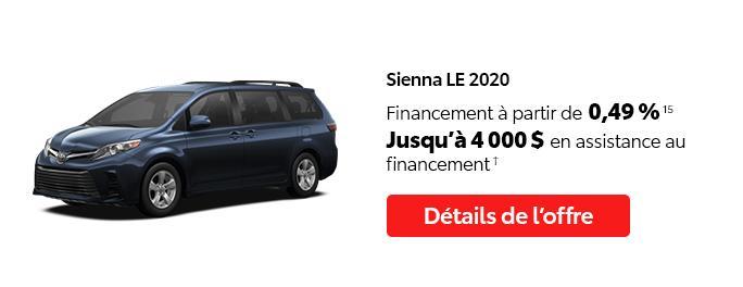 St-Hubert Toyota C'est l'heure Toyota Janvier 2021 Sienna LE 2020