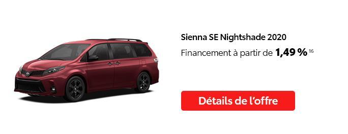 St-Hubert Toyota C'est l'heure Toyota Janvier 2021 Sienna SE Nightshade 2020